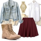 jcr1v7-l-610x610-jacket-jean-jean+jacket-light-pastel-girly-cute-pretty-outfit-outfits-idea-ideas-skirt-shoes-boots-combat-boot-studs-tab-maroon+burgundy-solid+color-red+pleat