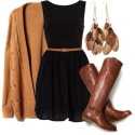 zcer4t-l-610x610-shoes-riding+boots-brown+leather+boots-boots-fall+boots-dress-sweater-brown-brown+boots-black+dress-cardigan-fall+outfits-fall+dress-flared-boat+neck-brown+ca